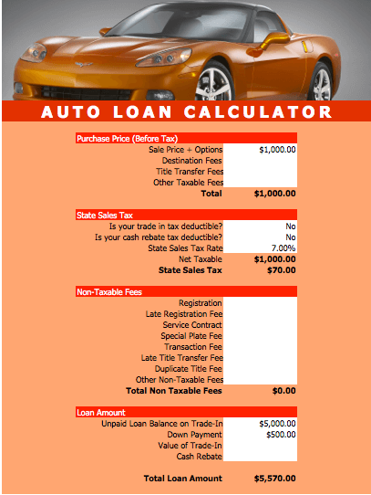 Auto Loan Calculator Template For Numbers Free Iwork Templates