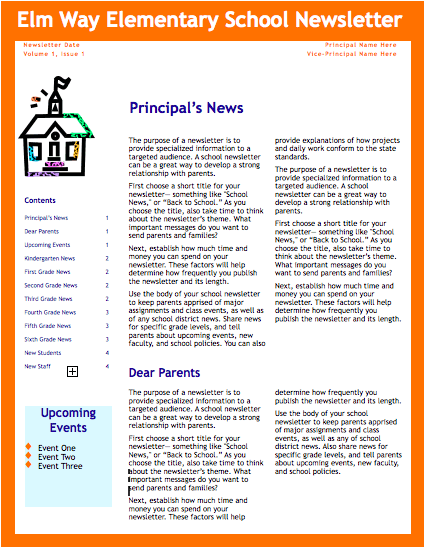 school newsletter template for pages free iwork templates