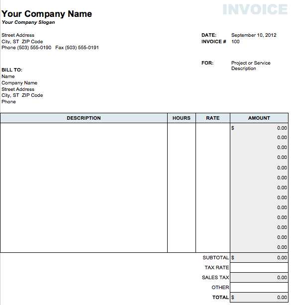 Classic Invoice Template for Numbers - Free iWork Templates