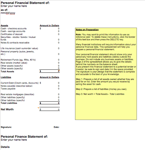 personal financial statement template free iwork templates