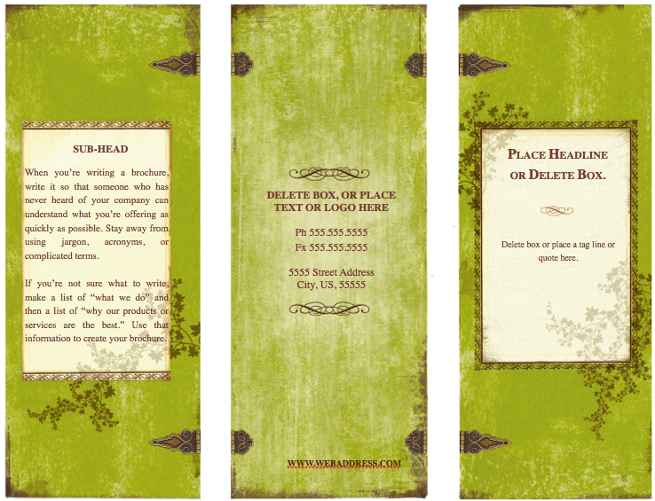 Weathered tri fold brochure template for pages free iwork templates for Pages brochure templates free