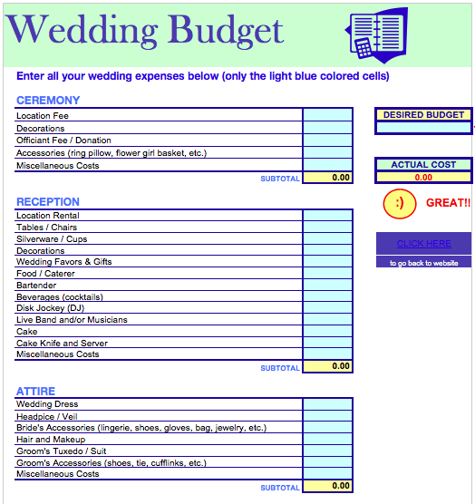 wedding budget template free iwork templates