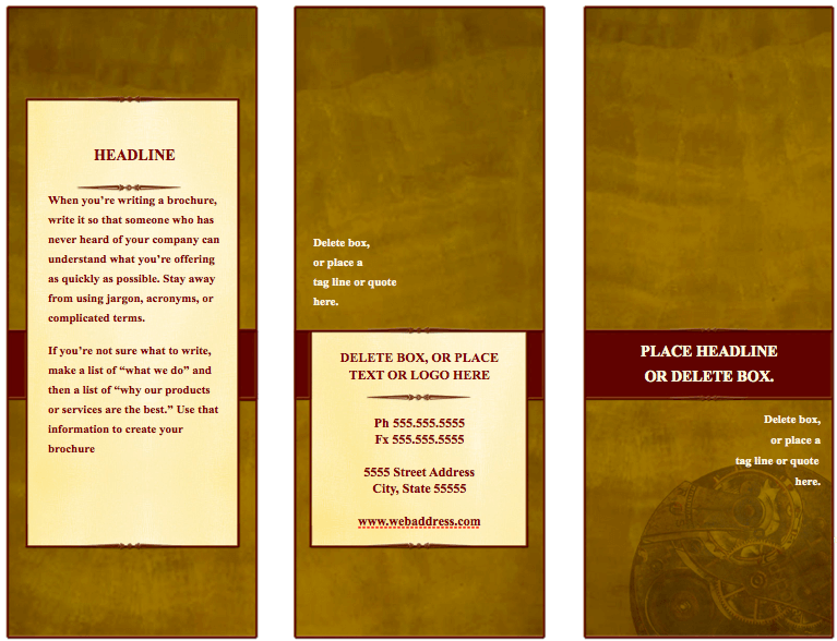 Traditional tri fold brochure template for pages free for 4 column brochure template