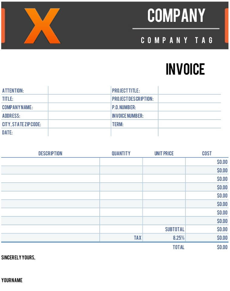 x invoice template for numbers