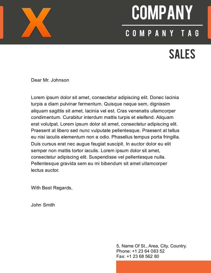 X Letterhead Template for Pages - Free iWork Templates