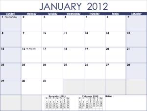 2012 Monthly Calendar Template