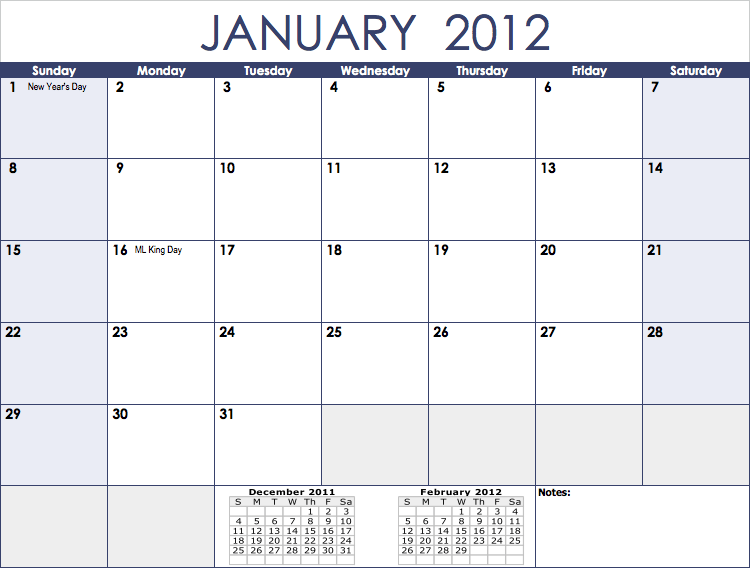 Numbers 2012 Monthly Calendar Template - Free iWork Templates