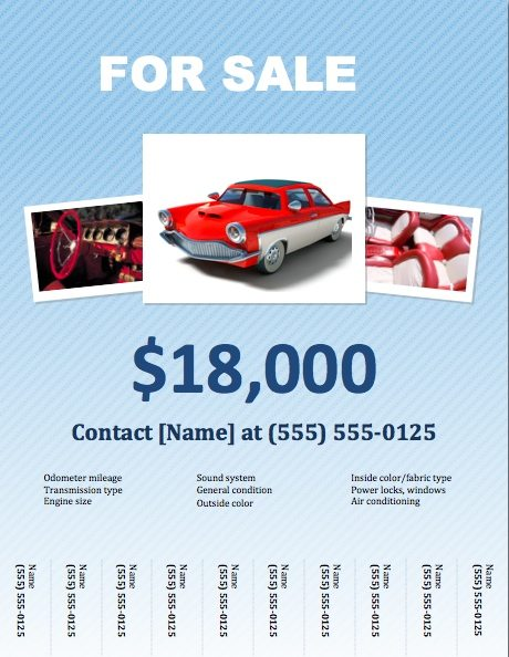 Car For Sale Flyer Template for Pages   Free iWork Templates MdhB9bdU