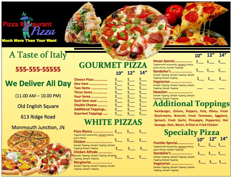 restaurant menu templates for mac - pages pizzeria menu template free iwork templates