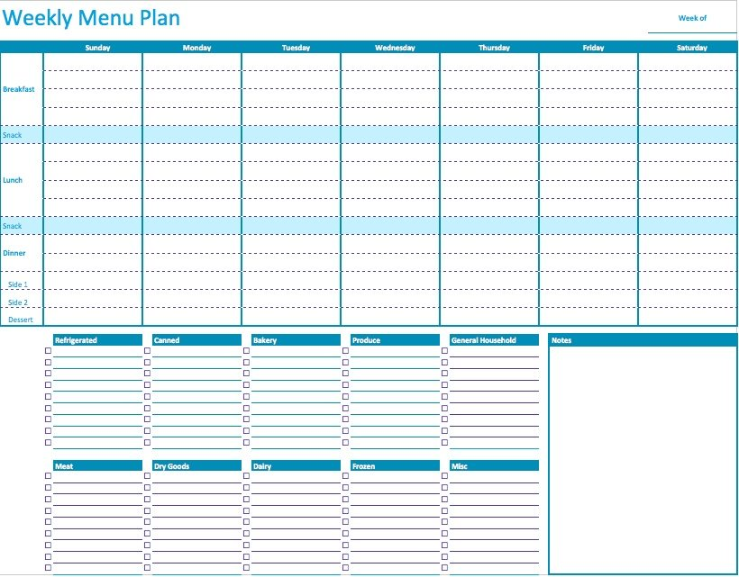 Weekly Menu Planner Template for Numbers Free iWork Templates – Diet Menu Template