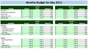 Zero Line Budget Template
