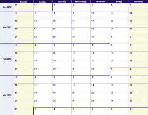 2013 Weekly Calendar Template
