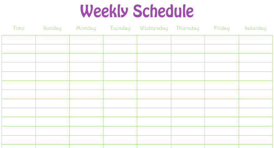 weekly schedule numbers template free iwork templates
