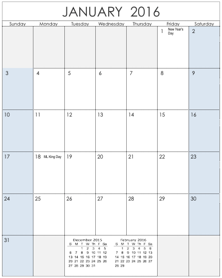2016 Vertical Calendar Template For Numbers Free Iwork Templates