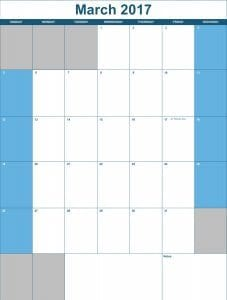 2017 Vertical monthly Calendar Template