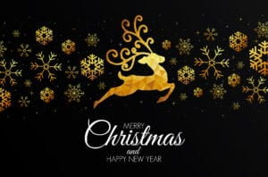 Low Poly Golden Snow Christmas Card Template for Pages