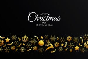 Low Poly Golden Christmas Decorations Christmas Card Template for Pages