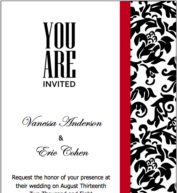 Black Red Wedding Invitations Template for Pages - Free ... Red And White Wedding Invitations Templates