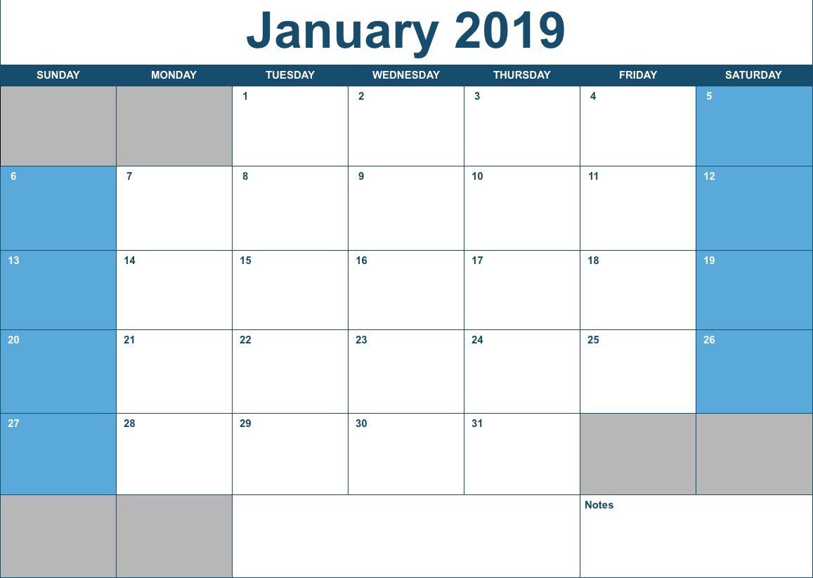 2019 horizontal monthly calendar template for numbers